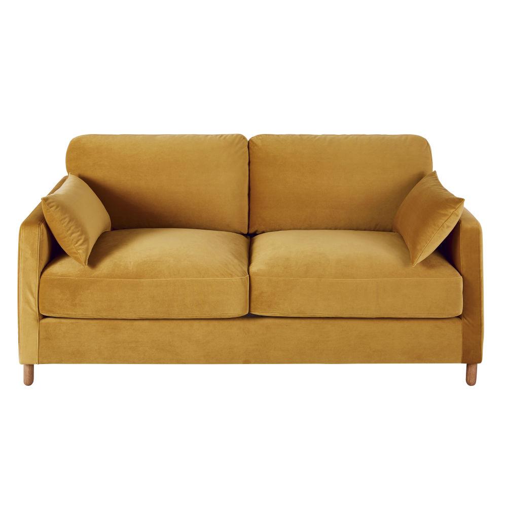 3-Sitzer-Schlafsofa mit Samtbezug senfgelb, Matratze 14cm Julian