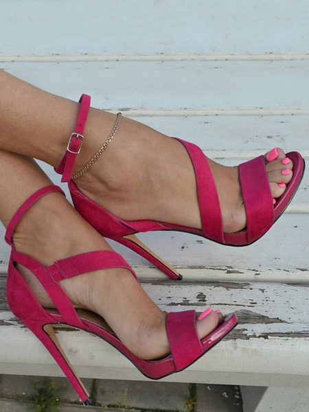 Milanoo Sandalias de tacon alto de gamuza de punta abierta con tiras de tobillo correa sandalias zapatos para mujeres
