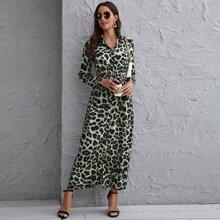 Vestido estilo camisa de leopardo con cinturon con boton delantero