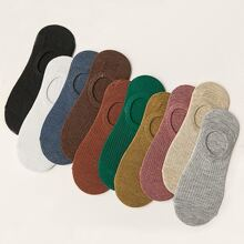 Multicolored Ribbed No Show Socks - 10 Pairs
