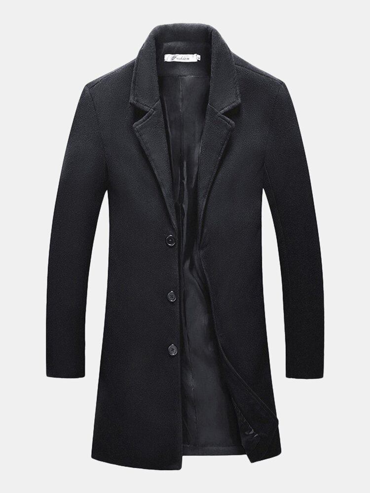 Mens Mid Long Solid Color Single Breasted Slim Fit Casual Business Trench Coat