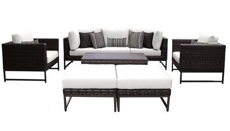 Barcelona BARCELONA-08c-BRN-WHITE 8-Piece Patio Set 08c with 2 Corner Chairs  2 Club Chairs  1 Armless Chair  1 Coffee Table and 2 Ottomans - Beige