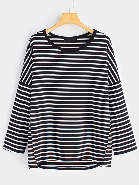 Yoins Plus Size Stripe Pattern High-low Hem Sweatshirt