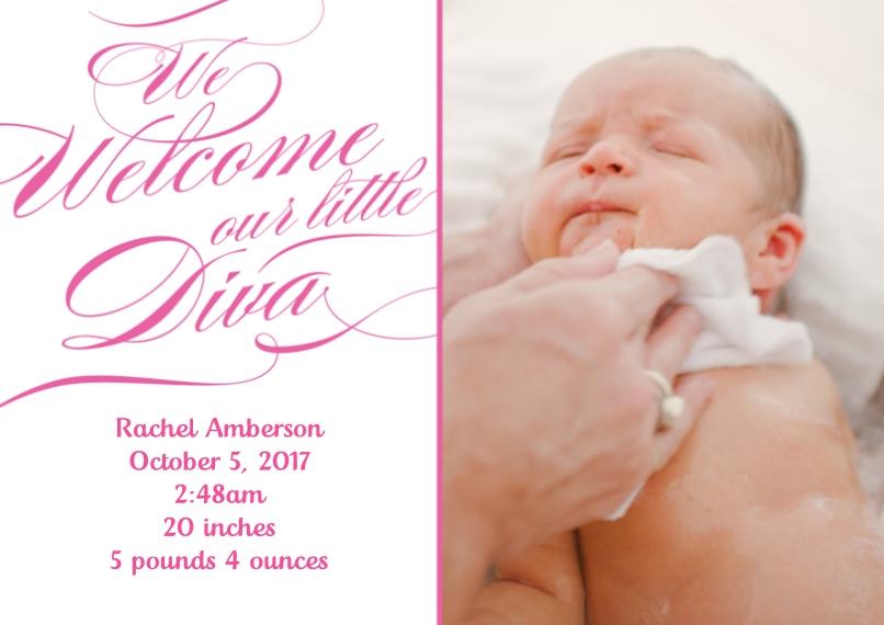 Newborn 5x7 Cards, Premium Cardstock 120lb with Elegant Corners, Card & Stationery -Posh Paper Baby Diva Announcement