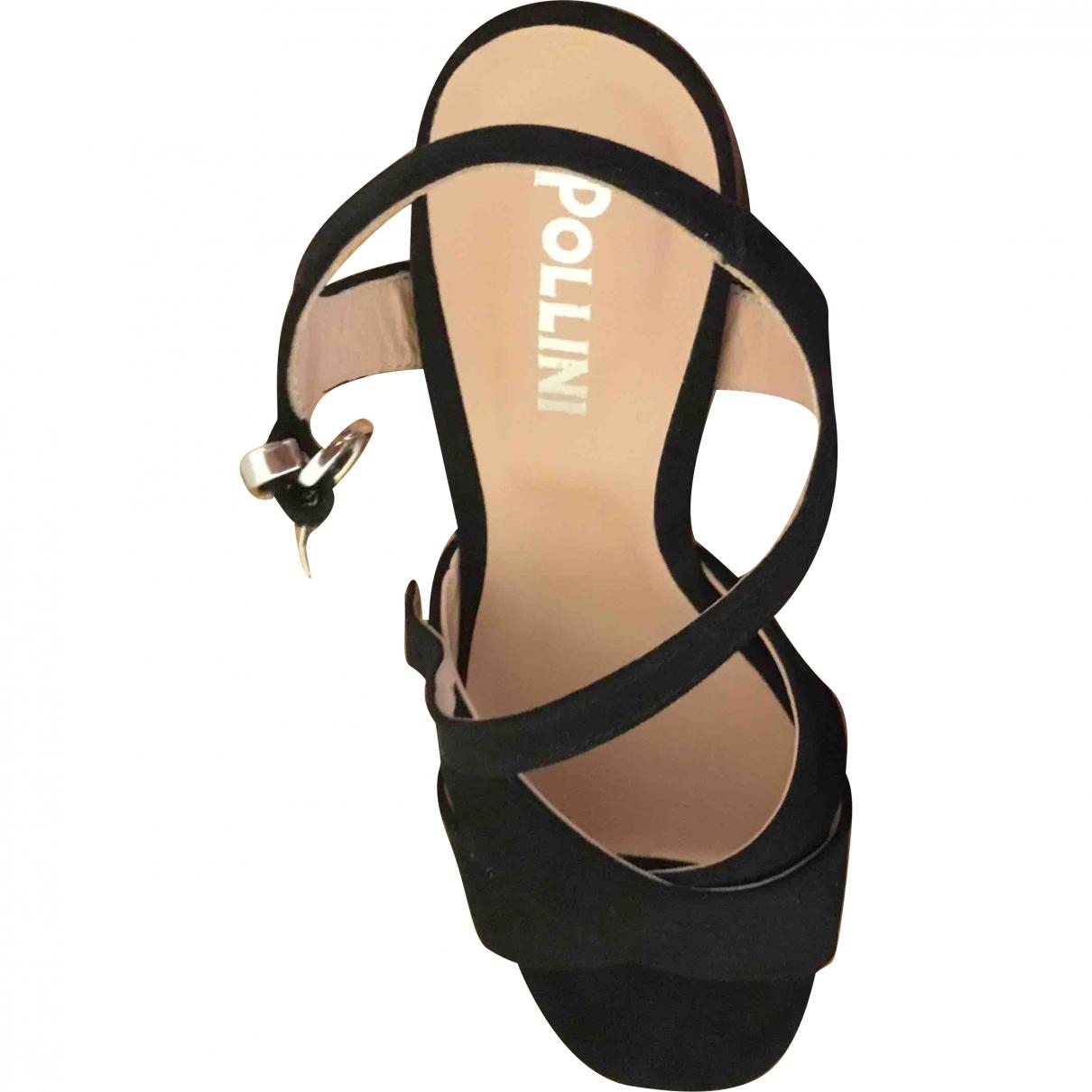 Pollini \N Black Leather Sandals for Women 39 EU