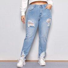 Mom Jeans mit hoher Taille, ungesaeumtem Saum und Riss