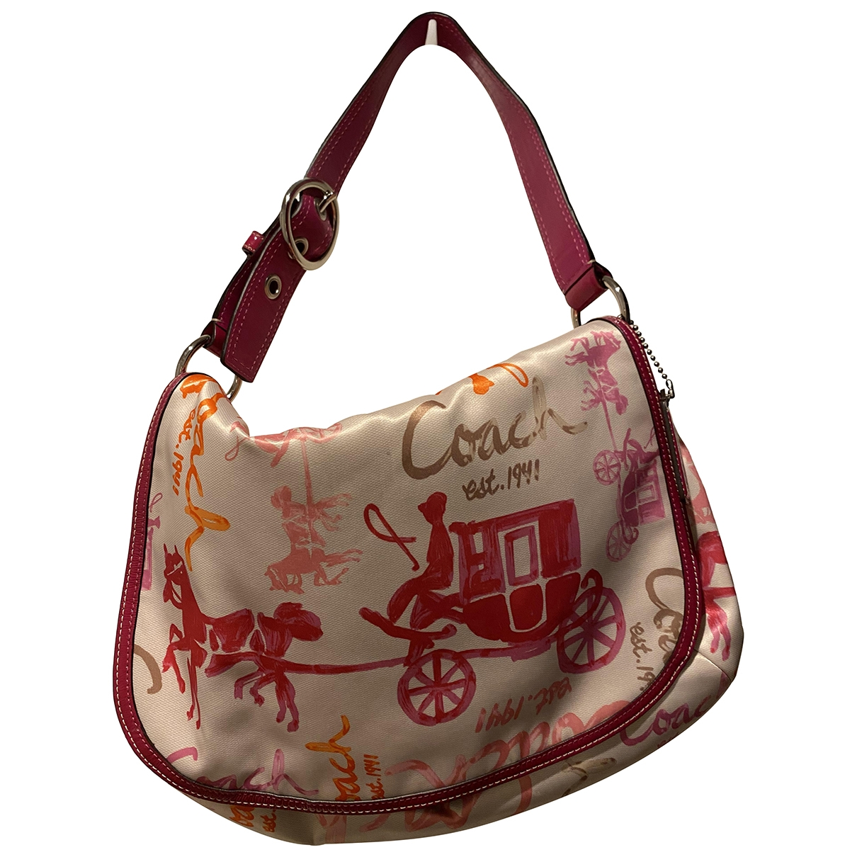 Coach Signature Sufflette Pink Cloth handbag for Women \N