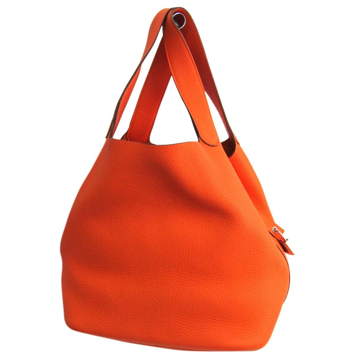 Hermes Picotin Handtasche in  Orange Leder