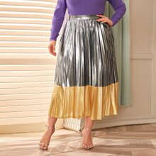 Plus Zipper Side Colorblock Metallic Pleated Skirt