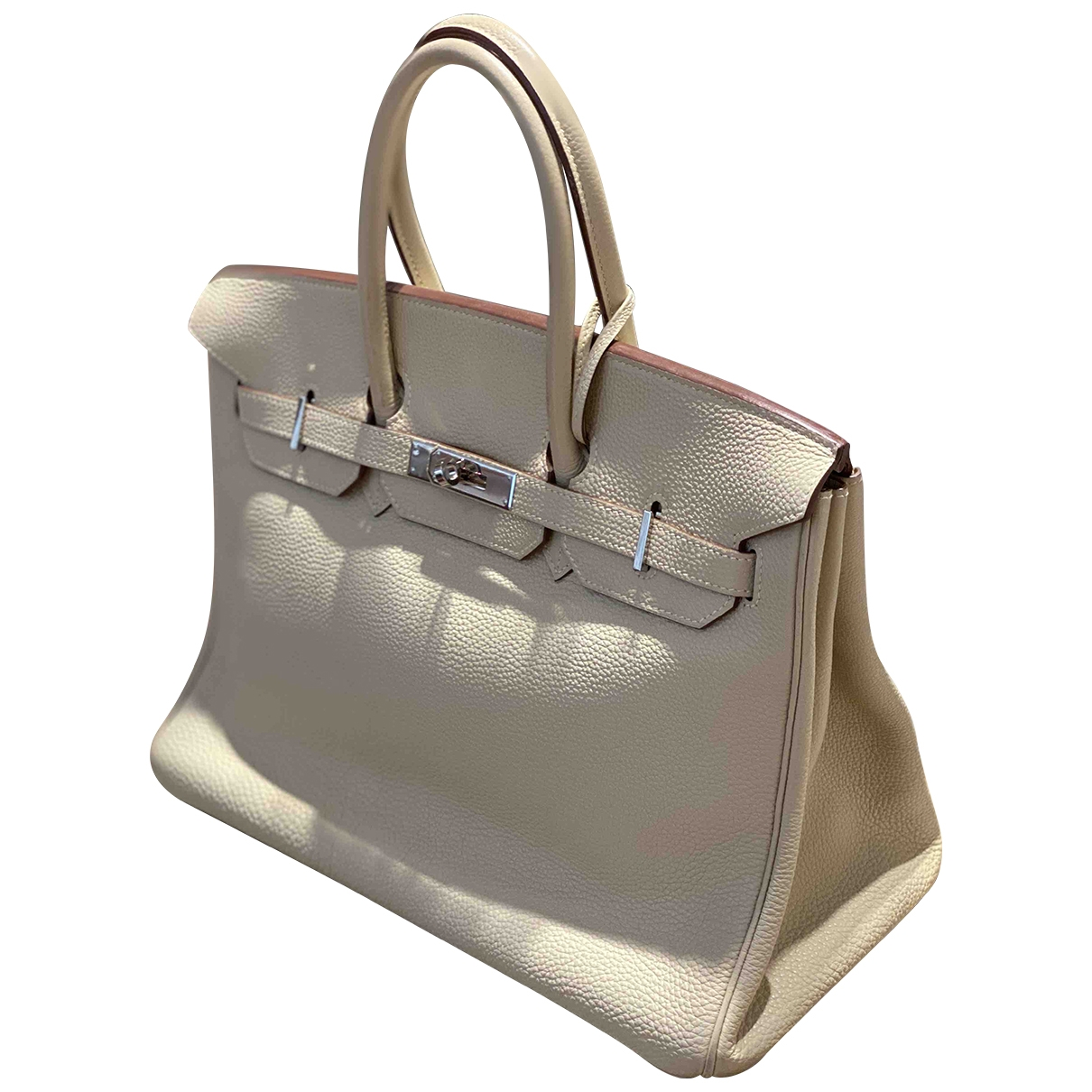 Hermes Birkin 35 Handtasche in  Weiss Leder