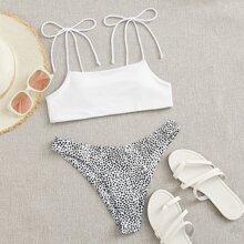 Dalmatian Tie Shoulder Bikini Swimsuit