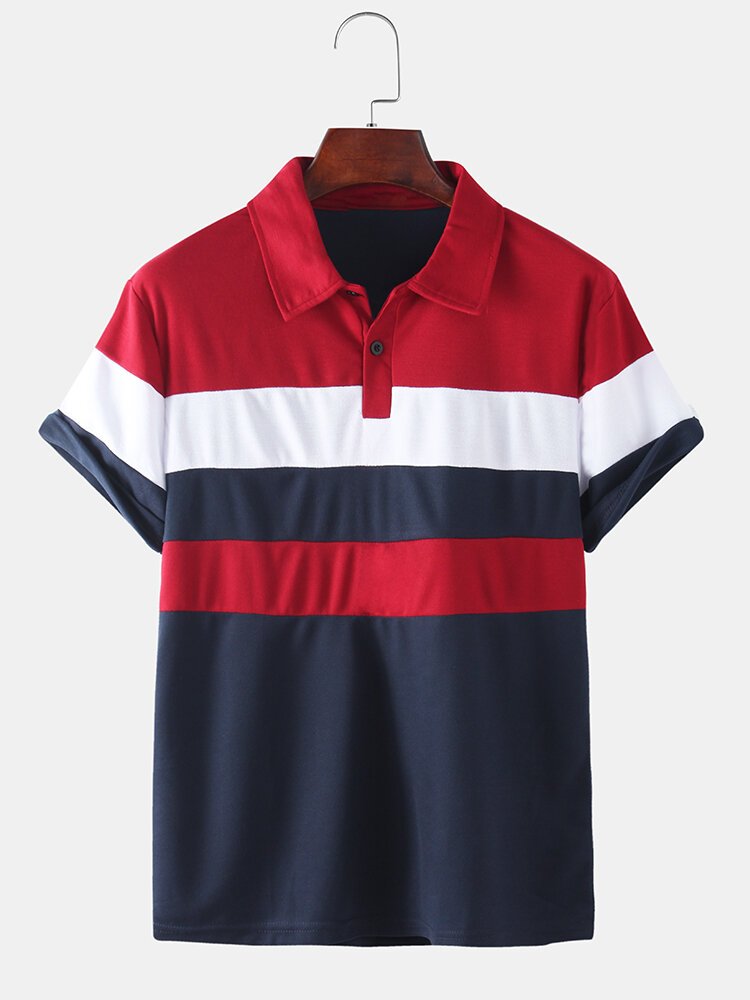Mens Classic Striped Short Sleeve Casual Business Golf Shirt