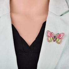Brosche mit Strass und Schmetterling Design