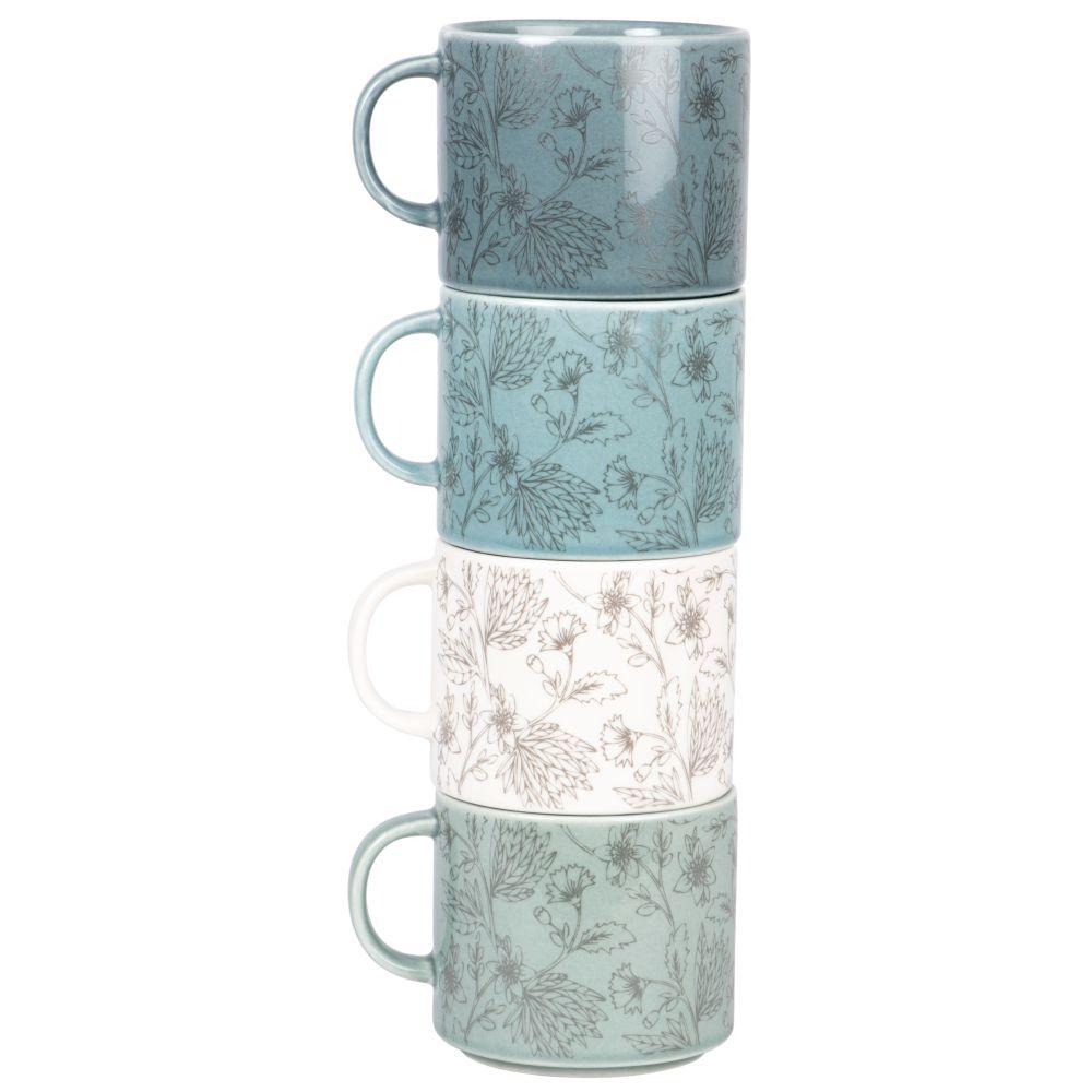 Set aus 4 Fayence-Tassen in den Farben Weiss, Gruen und Blau, mit aufgedrucktem Blattmotiv