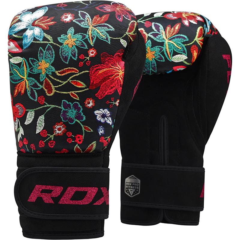 RDX FL3 Ladies 10oz Floral Black Boxing Training Gloves Women Punching Muay Thai Kickboxing Females