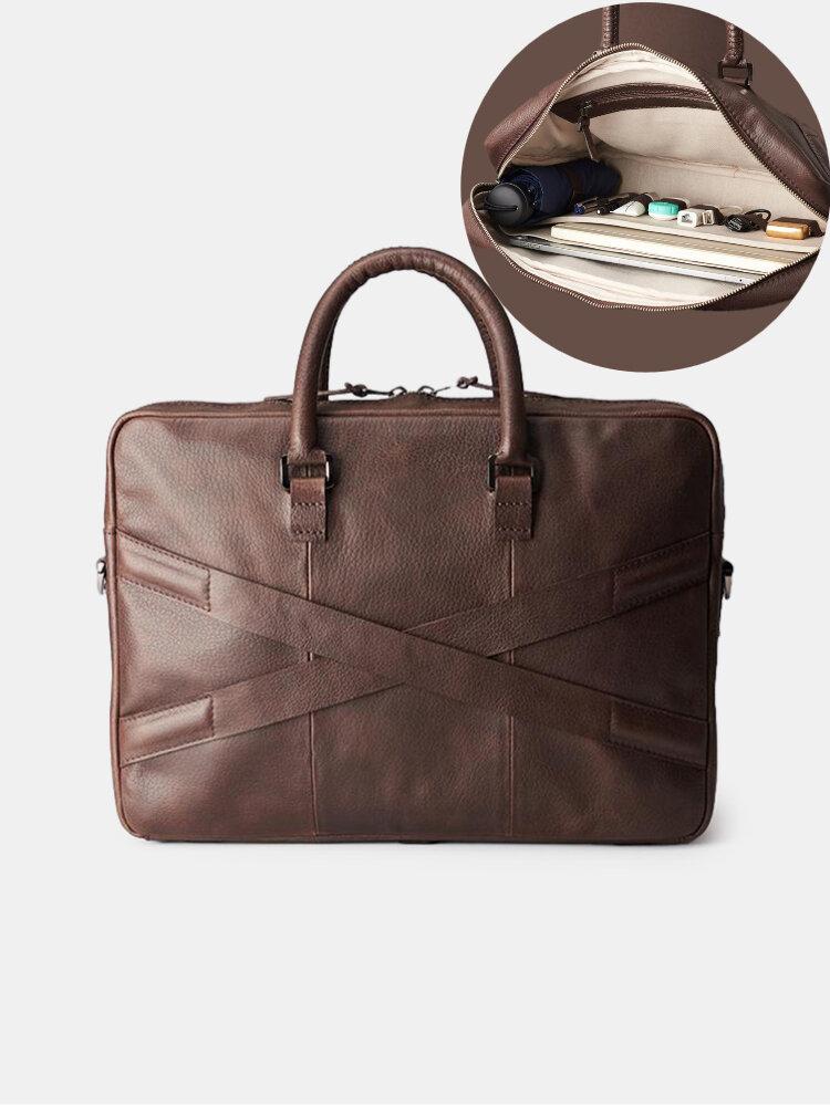 Men PU Leather 14 Inch Laptop Bag Briefcases Travel Handbag