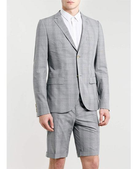 Men's Summer Light Gray Business Suits Shorts Pants Set (Sport Coat)