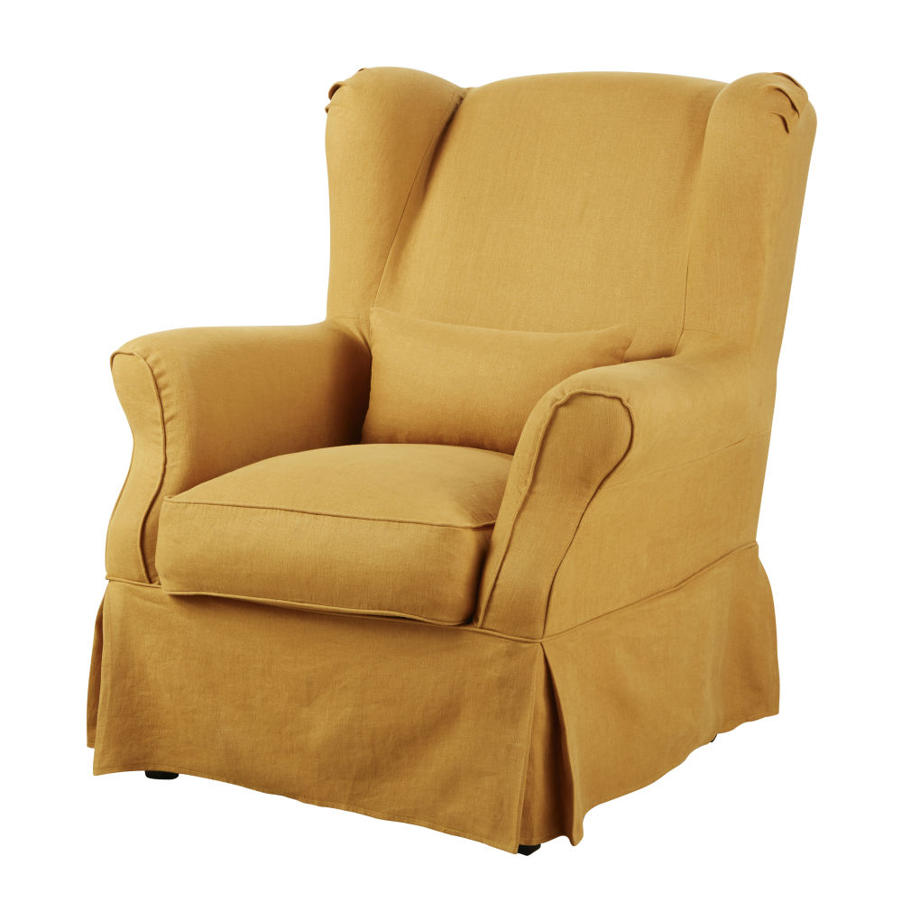 Sesselbezug aus Leinen, ockerfarben