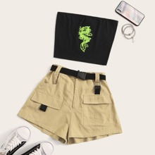 Dragon Print Bandeau Top & Cargo Shorts With Belt Set