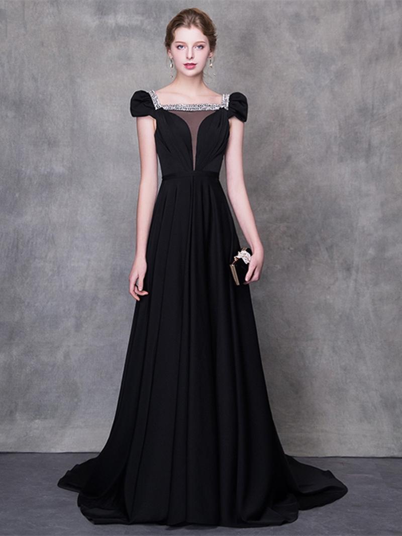 Ericdress A Line Cap Sleeve Black Evening Dress With Beadings