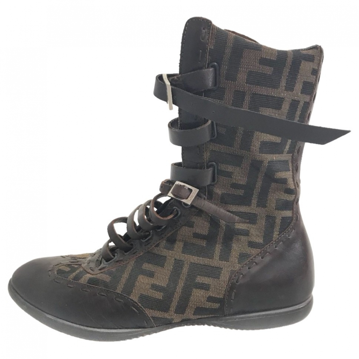 Fendi \N Brown Cloth Ankle boots for Women 35 EU