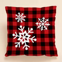 Snowflake & Plaid Print Cushion Cover Without Filler