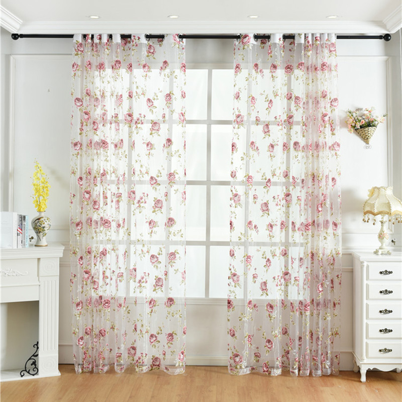 Pastoral Style Peony Print Custom Living Room Sheer Curtains Breathable Voile Drapes Never Fading Cracking Peeling or Flaking