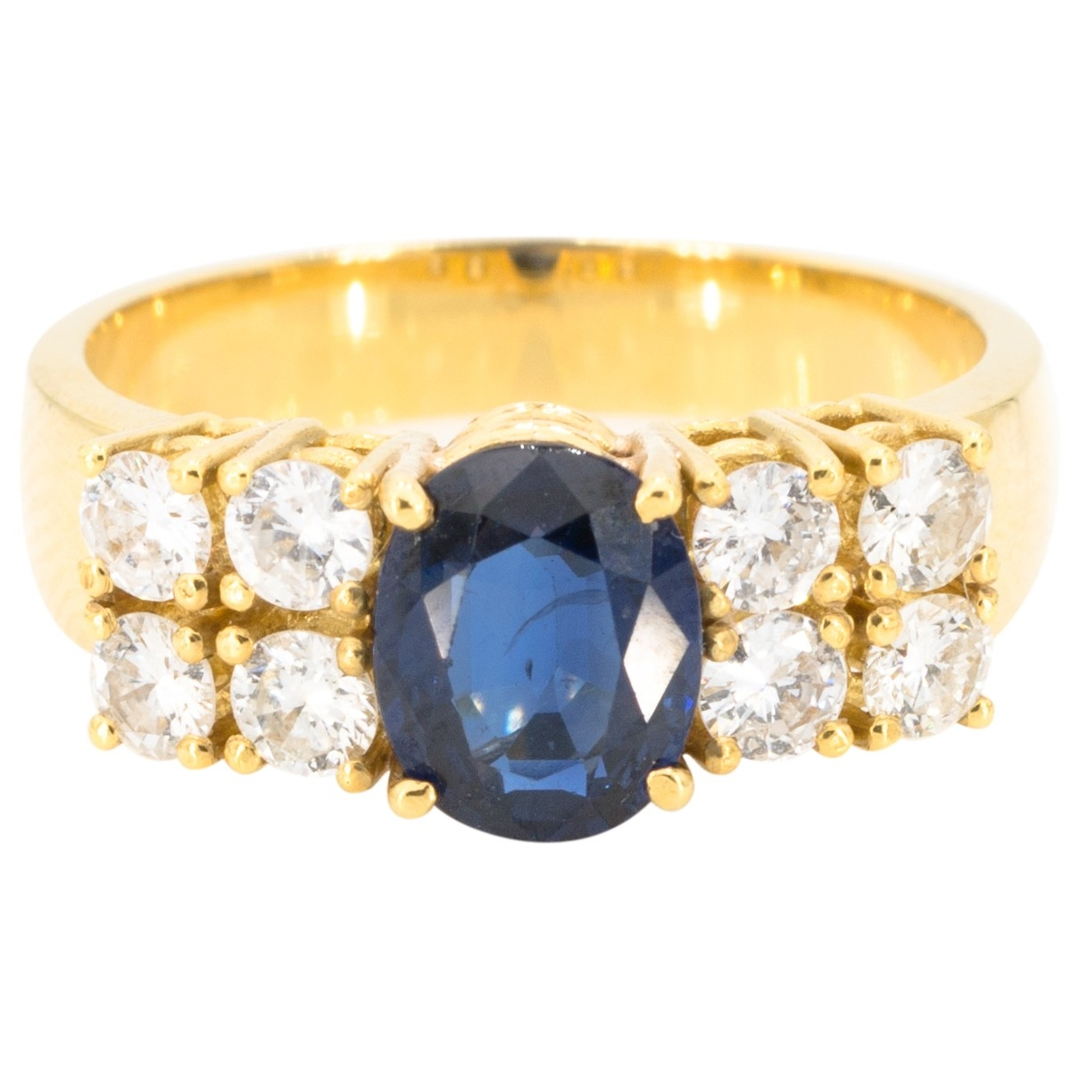 Non Signe / Unsigned Saphir Ring in  Gelb Gelbgold