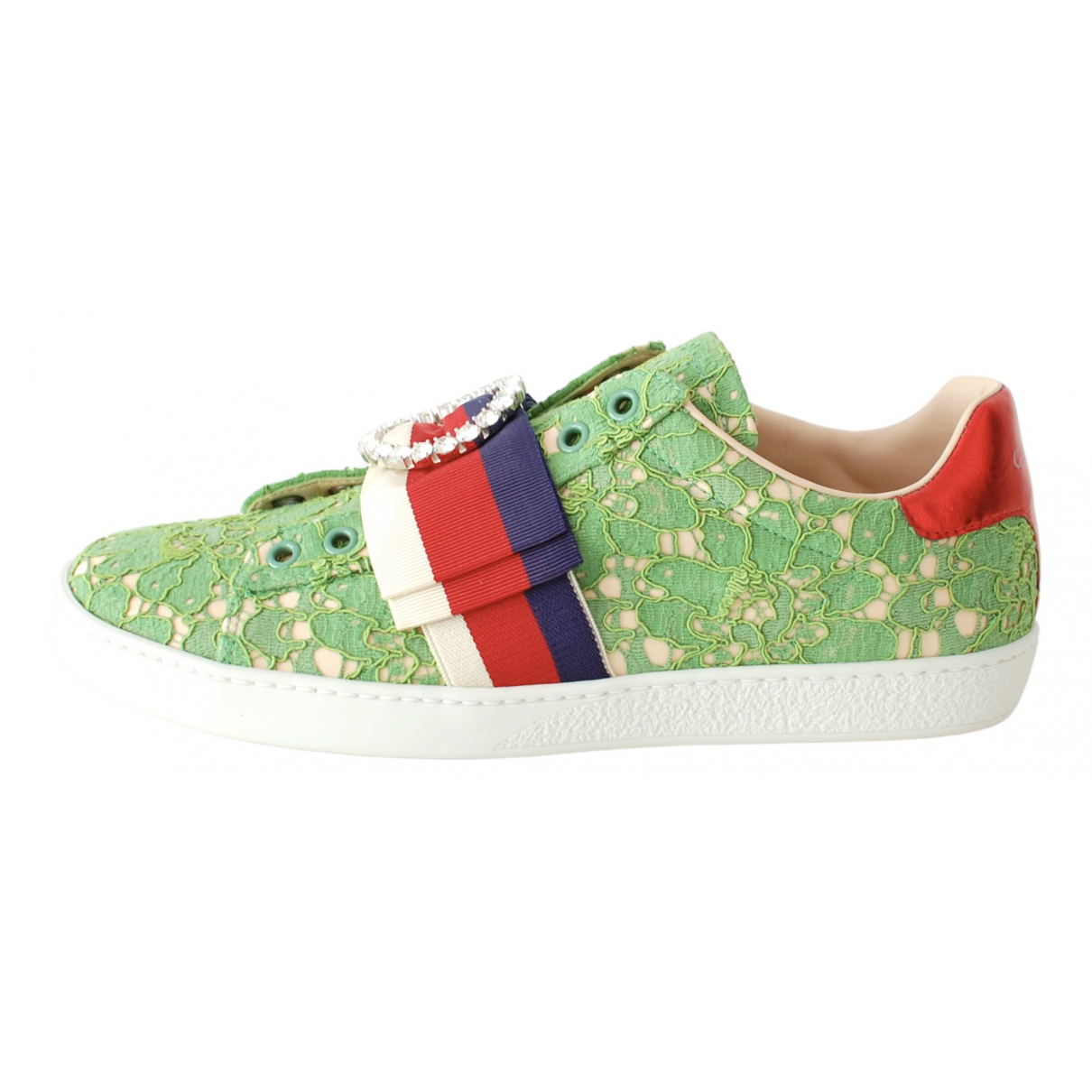 Gucci Ace Green Lace Trainers for Women 36.5 IT