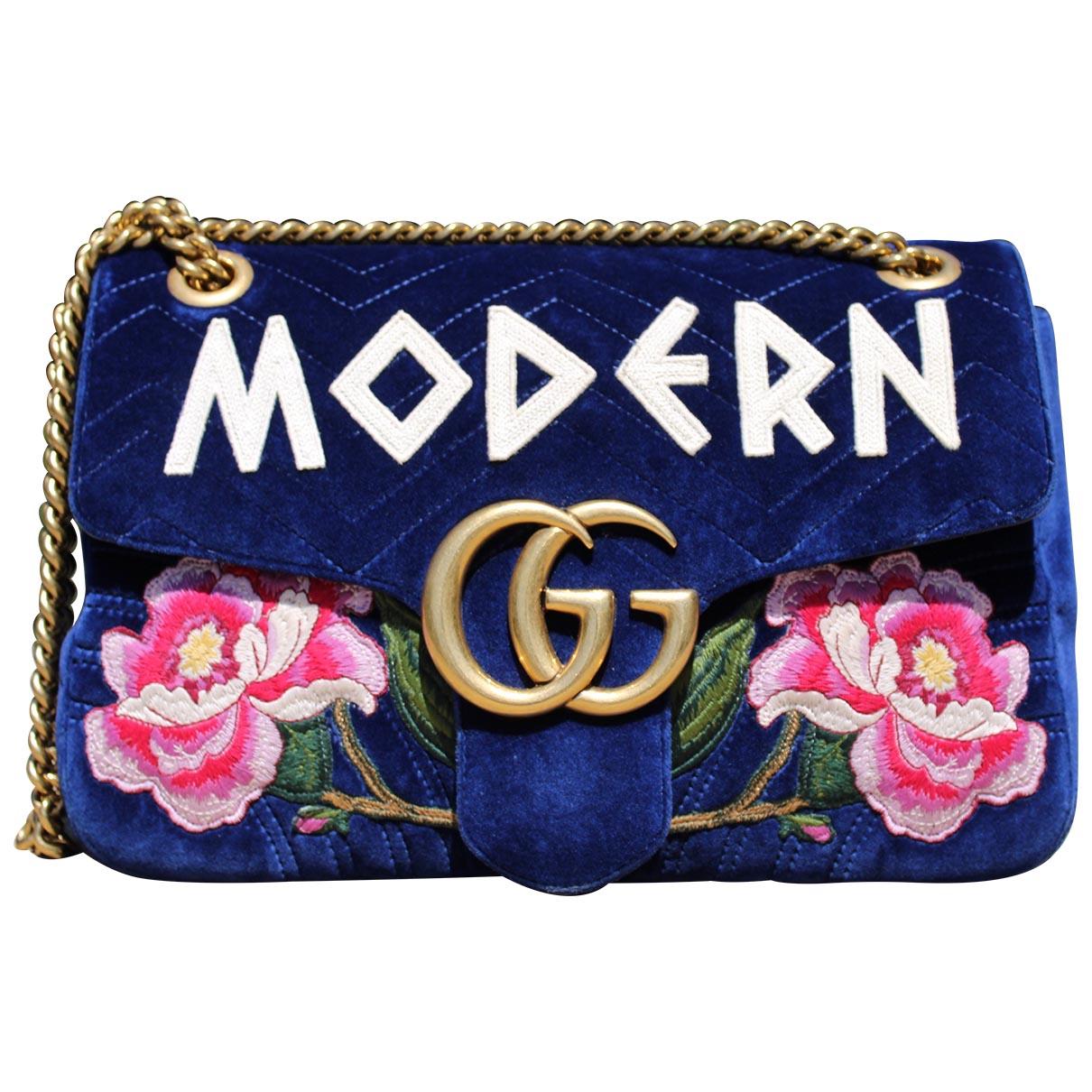 Gucci - Sac a main Marmont pour femme en velours - bleu