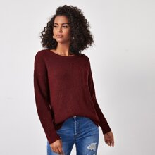 Drop Shoulder Pocket Front Sweater