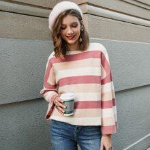 Drop Shoulder Colorblock Striped Sweater