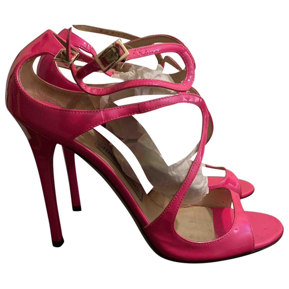 Jimmy Choo Lance Pink Patent leather Sandals for Women 40.5 EU