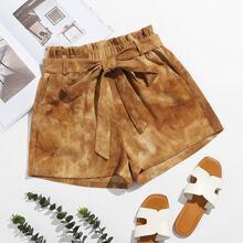 Shorts con cinturon de tie dye de cintura con volante