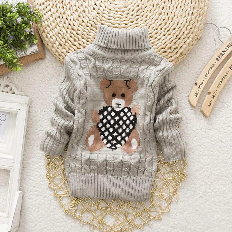 Cartoon Girls Turtleneck Sweater Kids Long Sleeve Knitwear For 2Y-11Y