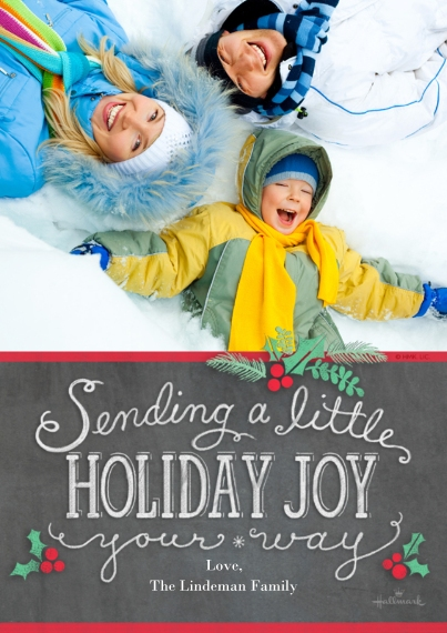 Christmas Photo Cards 5x7 Cards, Premium Cardstock 120lb with Rounded Corners, Card & Stationery -A Little Holiday Joy