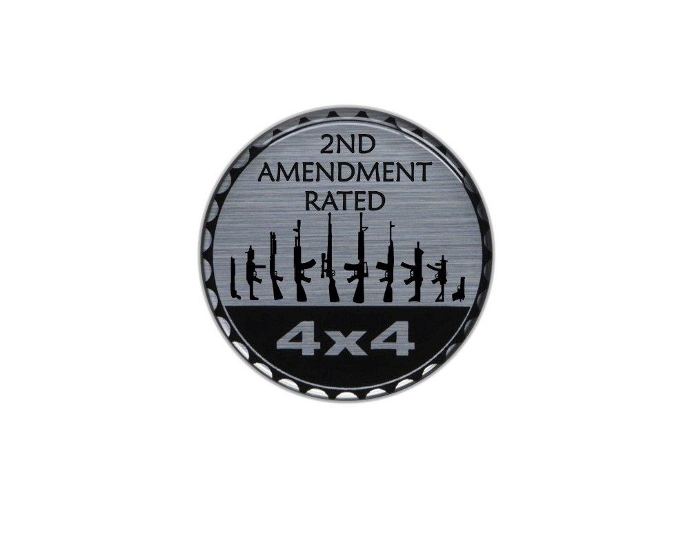 Tufskinz JEX059-DUM-357-G Rated Badge Fits Jeep 1 Piece Kit In Brushed Silver(2Nd Amendment Rated)