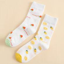 2 Paare Socken mit Obst Muster