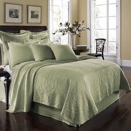 Historic Charleston Collection King Charles Matelassé Coverlet, One Size , Green
