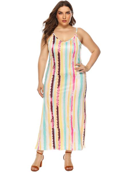 Yoins Plus Size Multi Color Backless Design Stripe Dress
