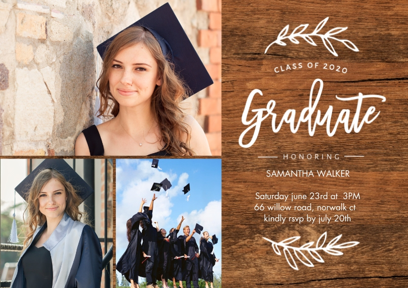 2020 Graduation Invitations Flat Matte Photo Paper Cards with Envelopes, 5x7, Card & Stationery -2020 Grad Foliage by Tumbalina