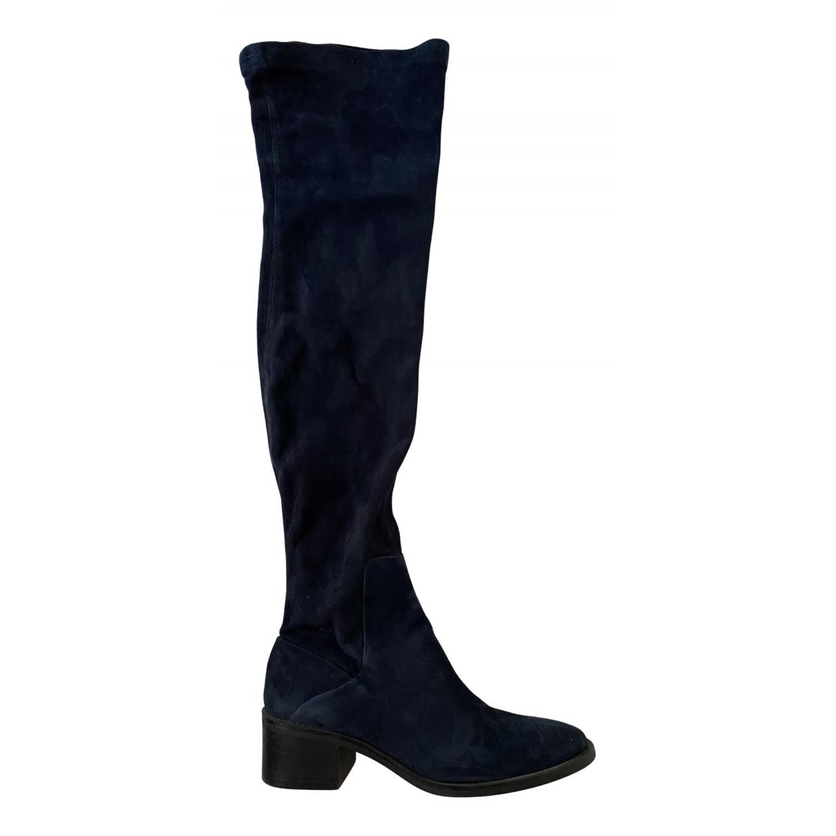 Zara - Bottes   pour femme en suede - marine