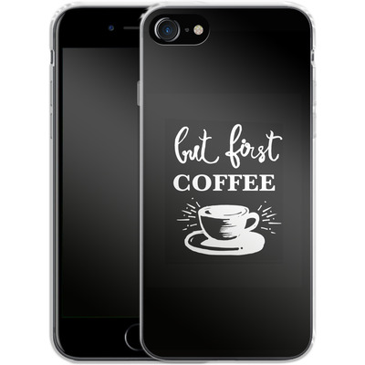 Apple iPhone 8 Silikon Handyhuelle - Coffee First von Mukta Lata Barua