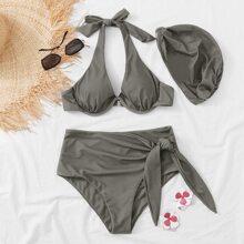 Bikini Badeanzug mit Knoten vorn, Buegel und Hut