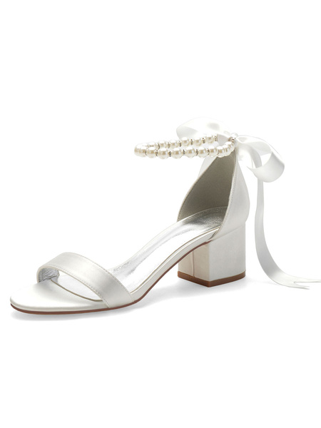 Milanoo Wedding Shoes White Satin Bows Pointed Toe Back Lace Bow Bridal Shoes