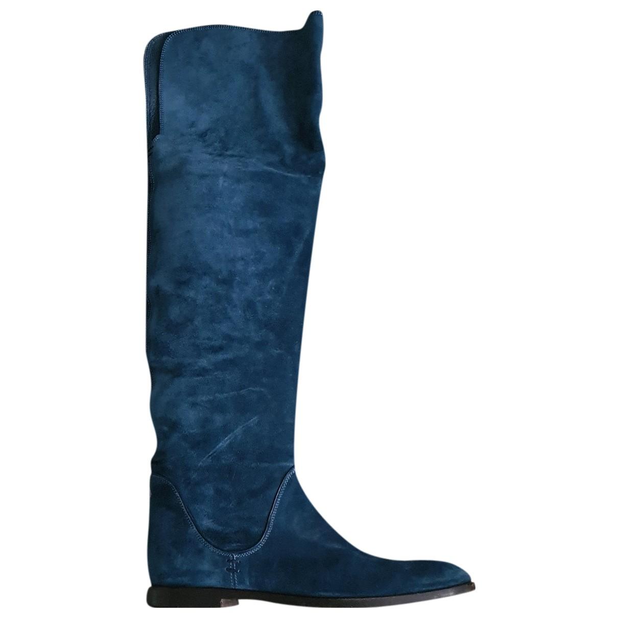 Sergio Rossi \N Stiefel in  Blau Samt