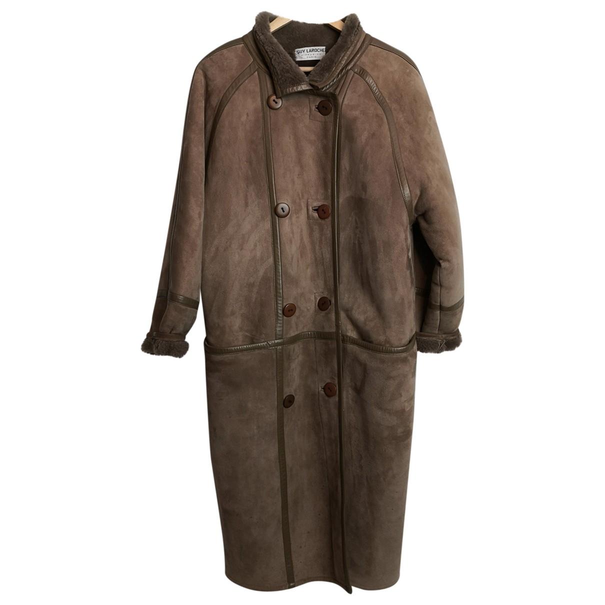 Guy Laroche - Manteau   pour femme en cuir - marron