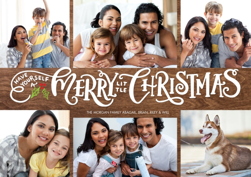 Christmas Photo Cards 5x7 Cards, Premium Cardstock 120lb with Elegant Corners, Card & Stationery -Christmas Gold Letters by Tumbalina
