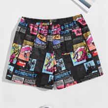 Maenner Shorts mit Pop Art Muster und elastischer Taille