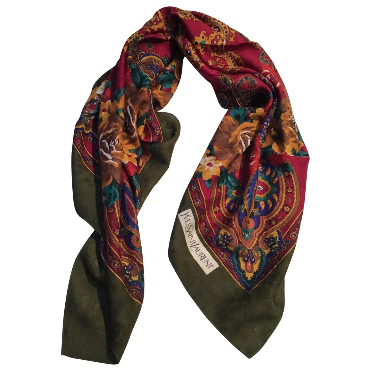 Yves Saint Laurent - Foulard   pour femme en laine - kaki